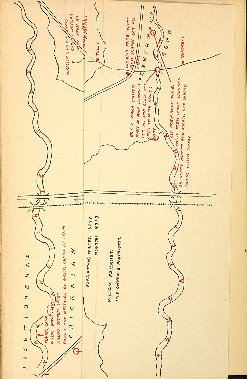 1936 Map of Yoknapatawpha, Folded