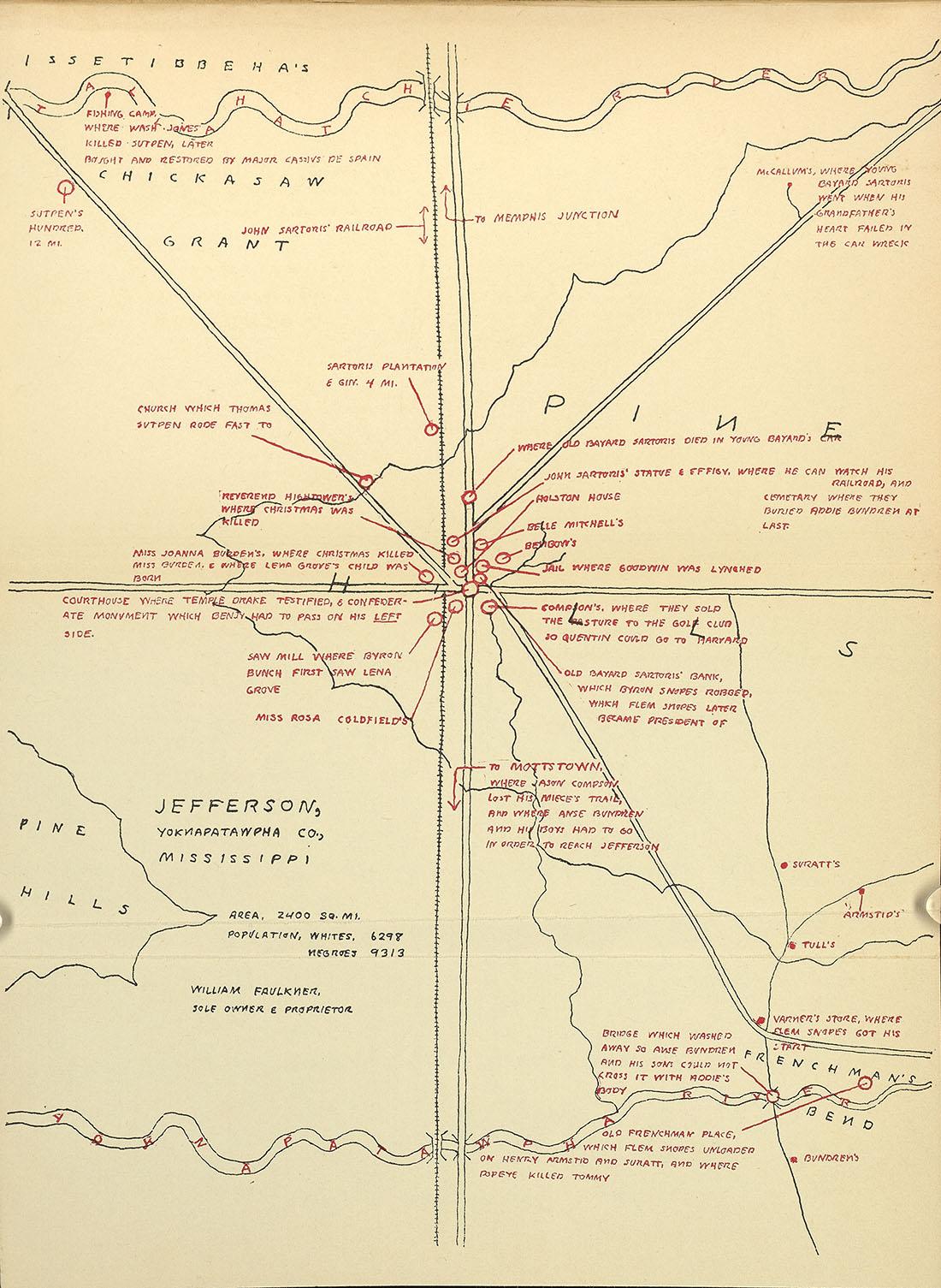 1936 Map of Yoknapatawpha, Opened