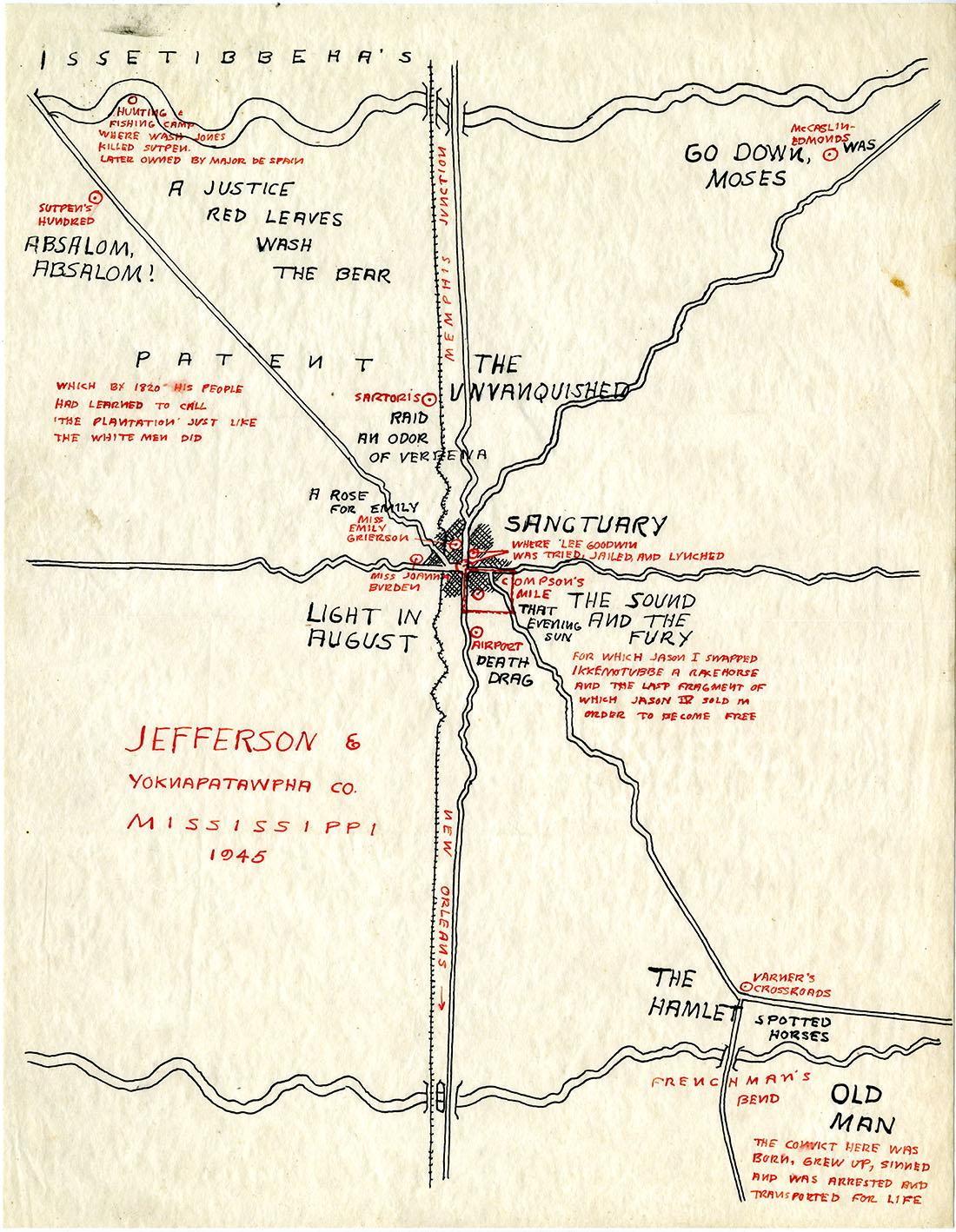 1945 Map of Yoknapatawpha