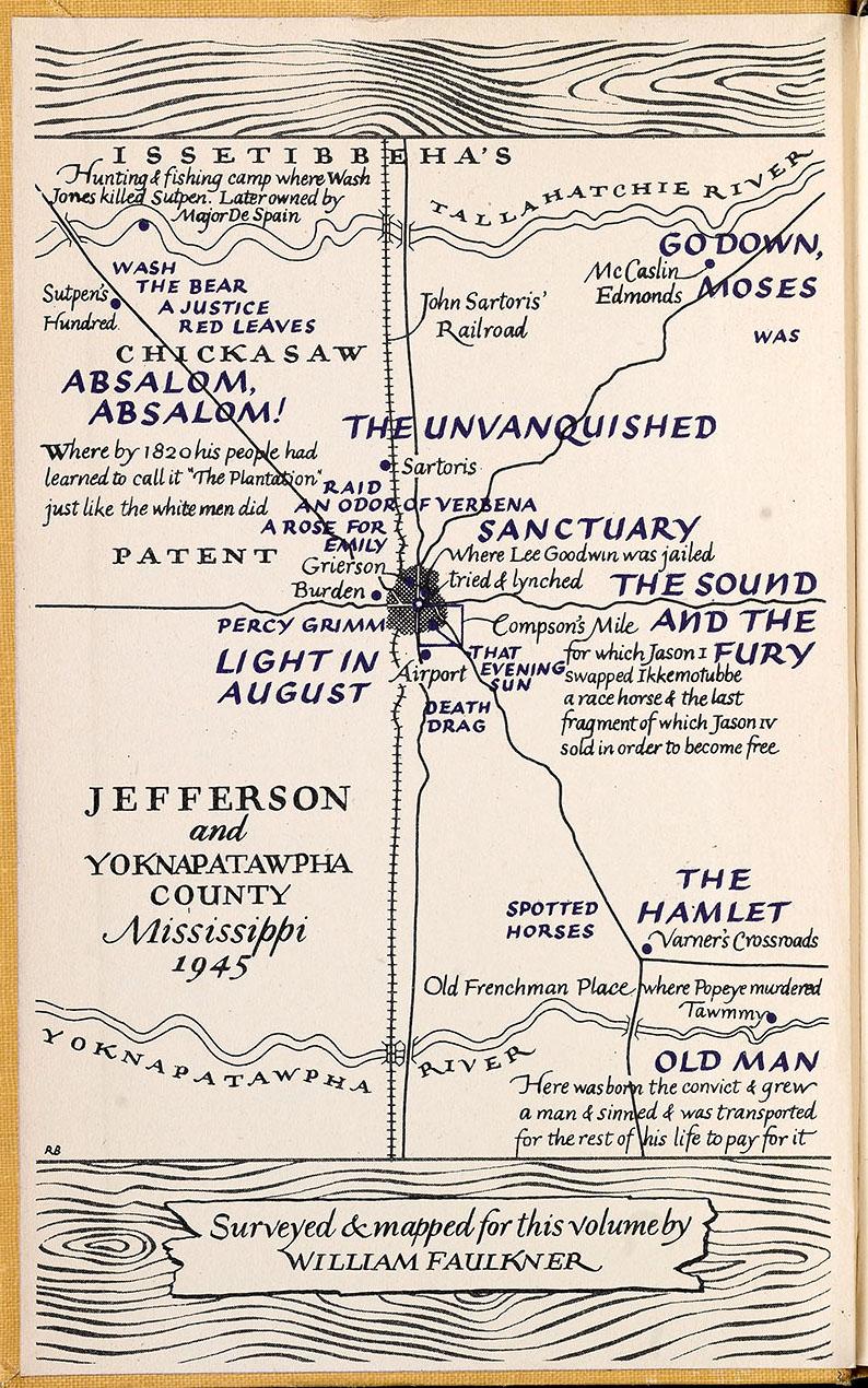 1945 Unfinished Map of Yoknapatawpha