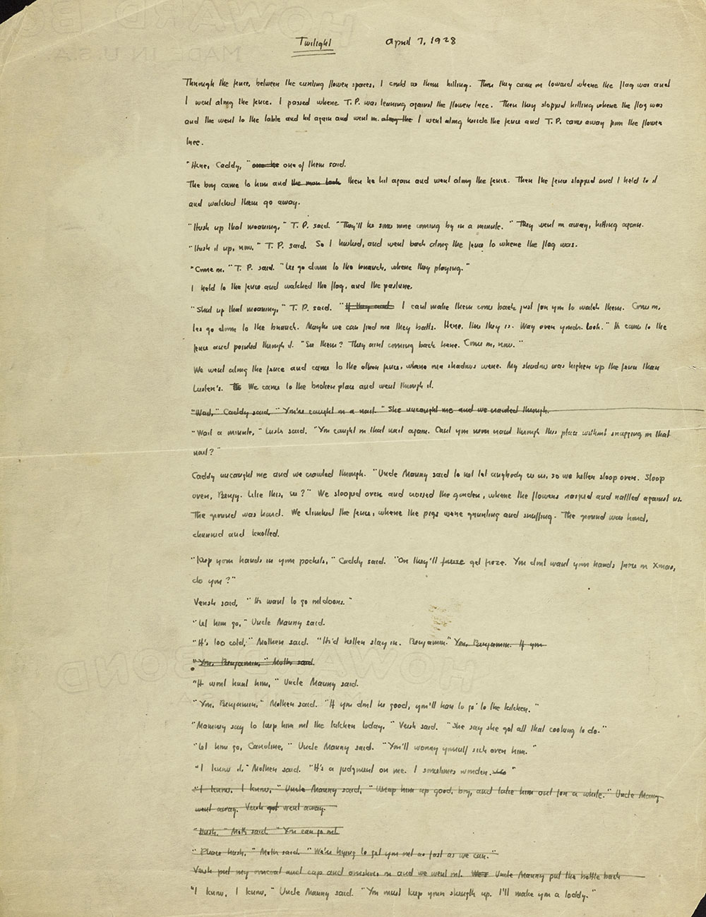 Page 1, The Sound and the Fury Ms