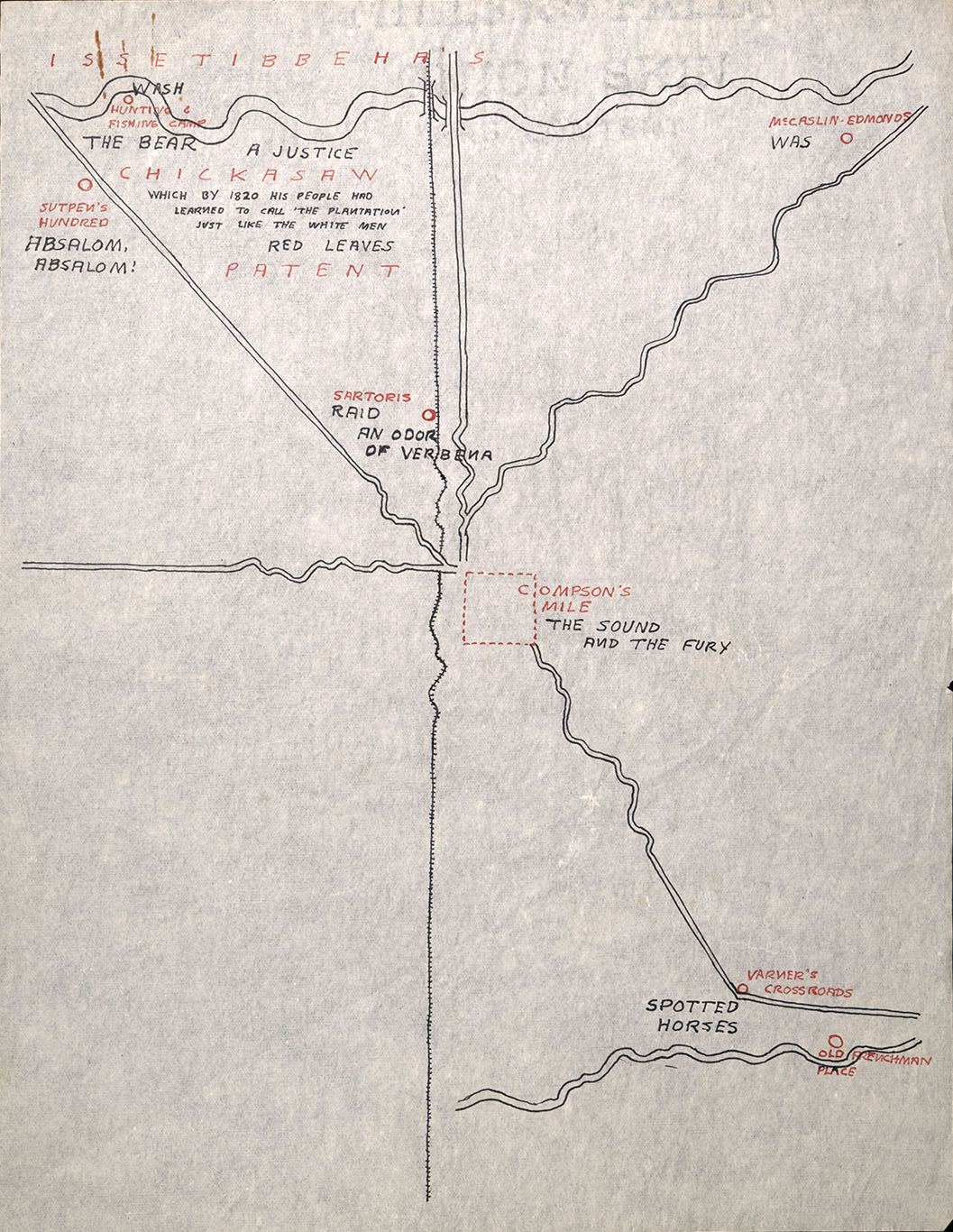 1945 Unfinished Map of Yoknapatawpha